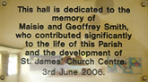 Wall plaque in St James Hill Mere Green Church Hall